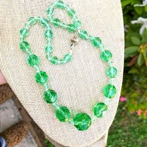 Vintage 1950's/ 60's Green Crystal Necklace